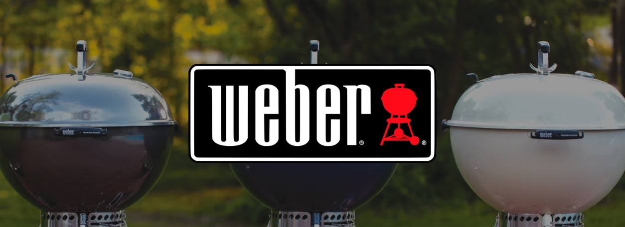 Weber logo with three grills behind it