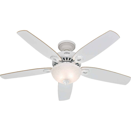 Hunter Builder Deluxe 52 In. White Ceiling Fan with Light Kit