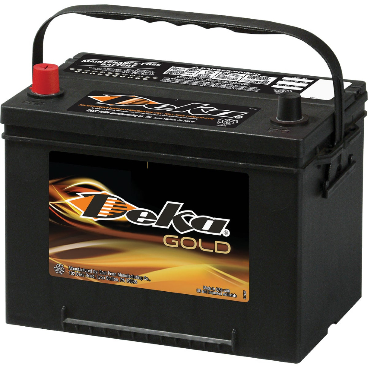 Deka Gold 12-Volt 690 CCA Automotive Battery, Top Post Left Front Positive Terminal Image 1