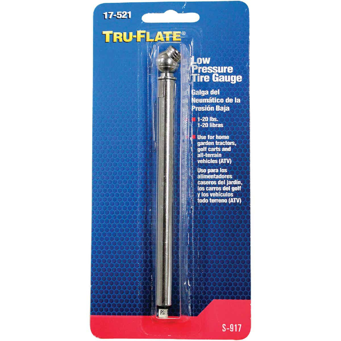 Tru-Flate 1-20 psi Chrome-Plated Tire Gauge Image 2