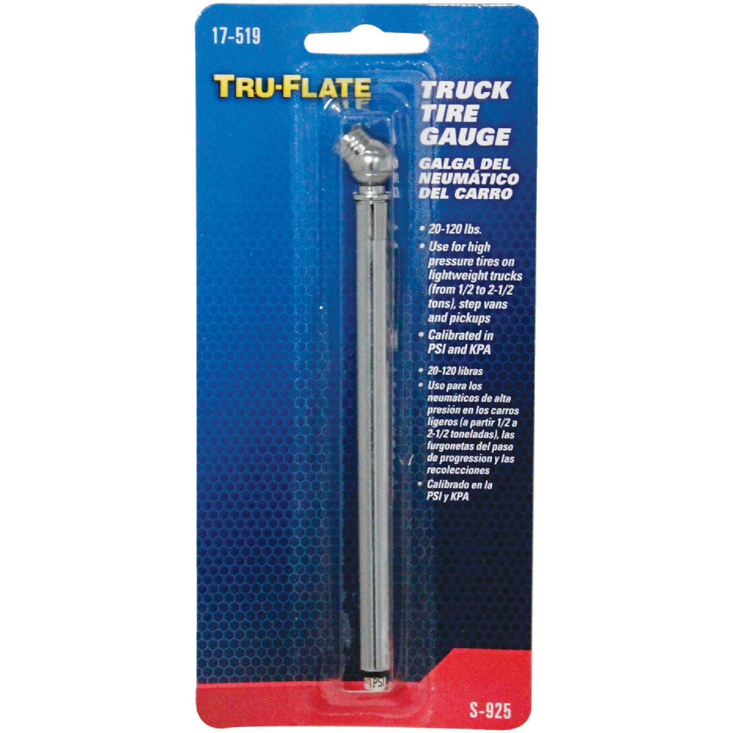 Tru-Flate 20-120 psi Chrome-Plated Truck Tire Gauge Image 2