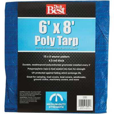 Do it Best Blue Woven 6 Ft. x 8 Ft. Medium Duty Poly Tarp