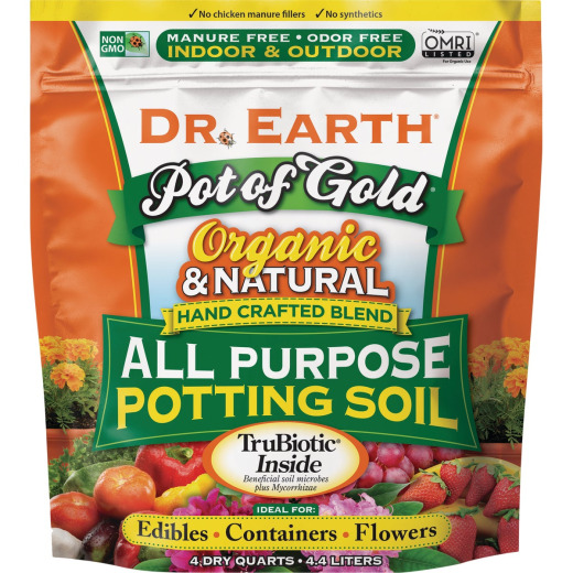 Dr. Earth Pot of Gold 4 Qt. 0.11 Lb. All Purpose Container Potting Soil