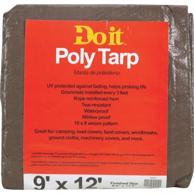 Do it 1 Side Green/1 Side Brown Woven 9 Ft. x 12 Ft. Medium Duty Poly Tarp