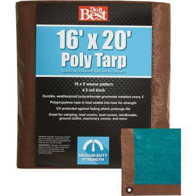 Do it Best 1 Side Green/1 Side Brown Woven 16 Ft. x 20 Ft. Medium Duty Poly Tarp