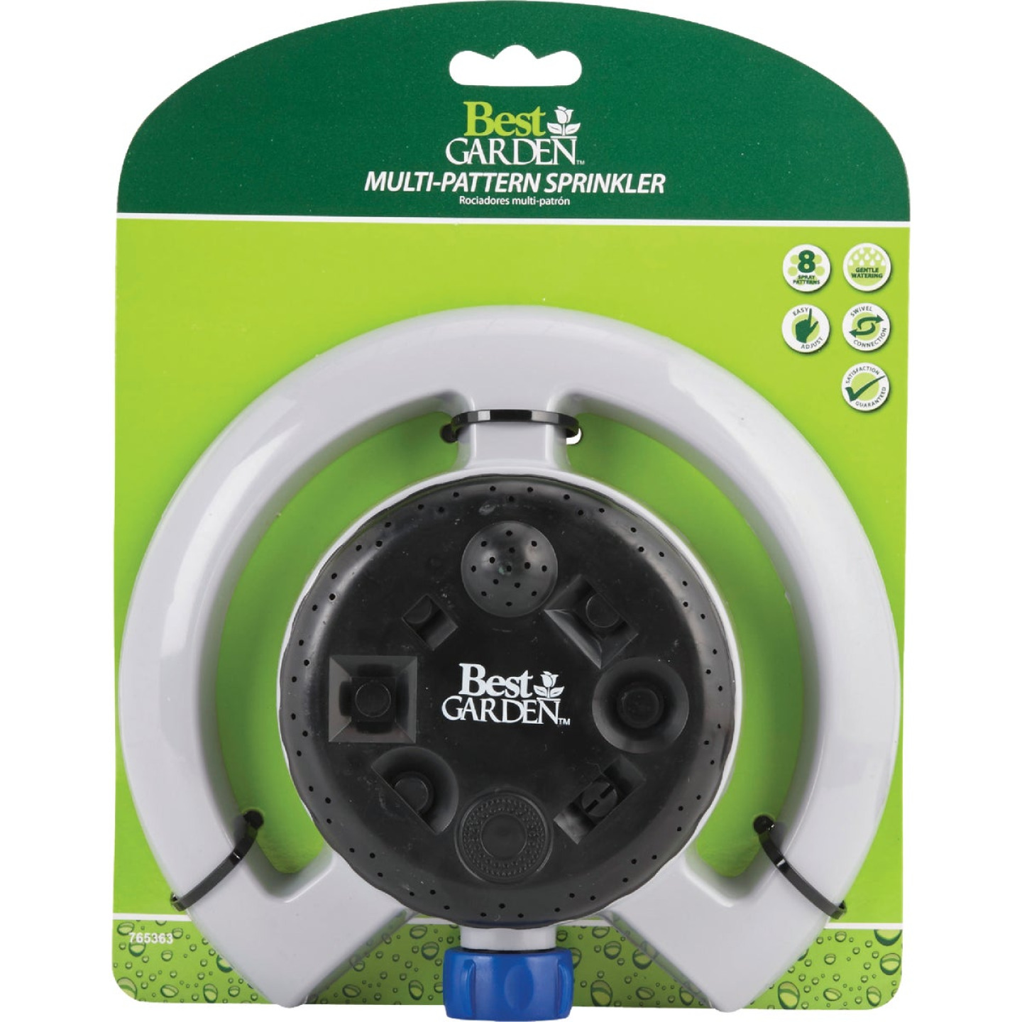 Best Garden Poly Varied Coverage Stationary Turret Sprinkler, Blue & Gray Image 2
