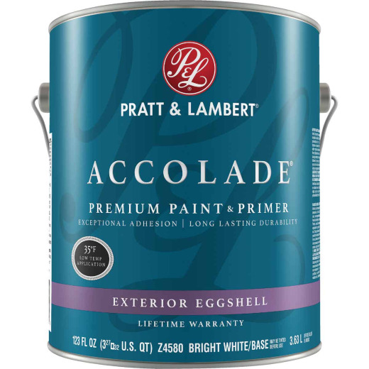 Pratt & Lambert Accolade 100% Acrylic Paint & Primer Eggshell Exterior House Paint, Bright White Base, 1 Gal.
