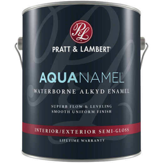 Pratt & Lambert Aquanamel Waterborne Alkyd Semi-Gloss Interior/Exterior Enamel, Bright White Base, 1 Gal.